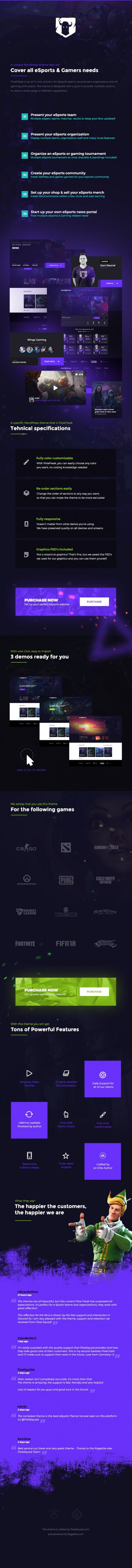 pixiefreak - eSports Gaming Theme for Teams